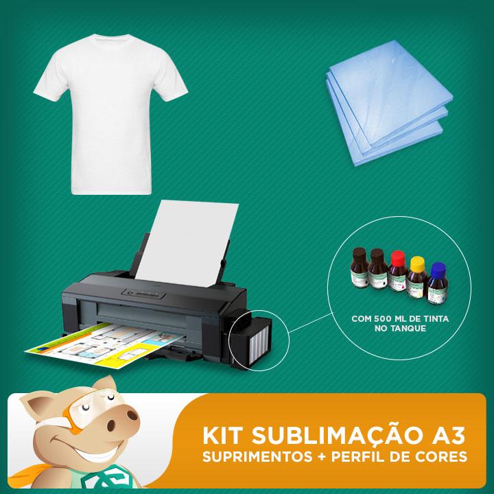 Kit sublimação A3 impressão (impressora A3 + suprimentos + perfil de cores GRATIS!)   - ECONOMIZOU