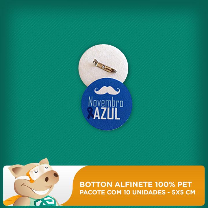 Botton Alfinete 100% PET - Redondo - 5x5cm - Pacote com 10 unidades  - ECONOMIZOU