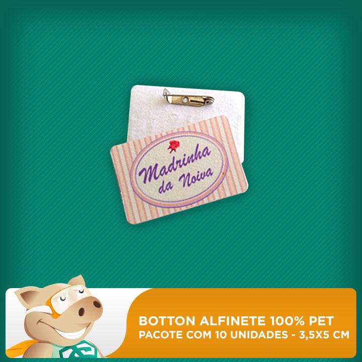 Botton Alfinete 100% PET - Retangular - 3,5x5cm - Pacote com 10 unidades