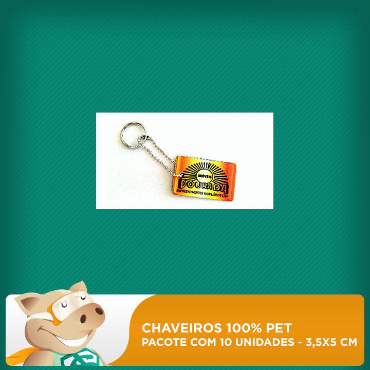 Chaveiro 100% PET - Retangular - 3,5x5cm - Pacote com 10 unidades  - ECONOMIZOU