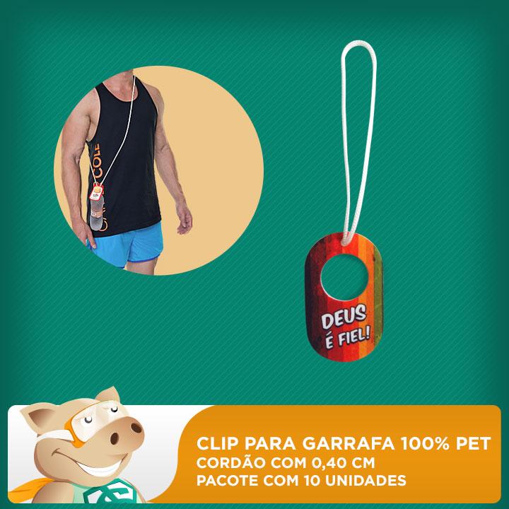 Clip para Garrafa 100% PET - Cordão 0,40cm - Pacote com 10 unidades  - ECONOMIZOU