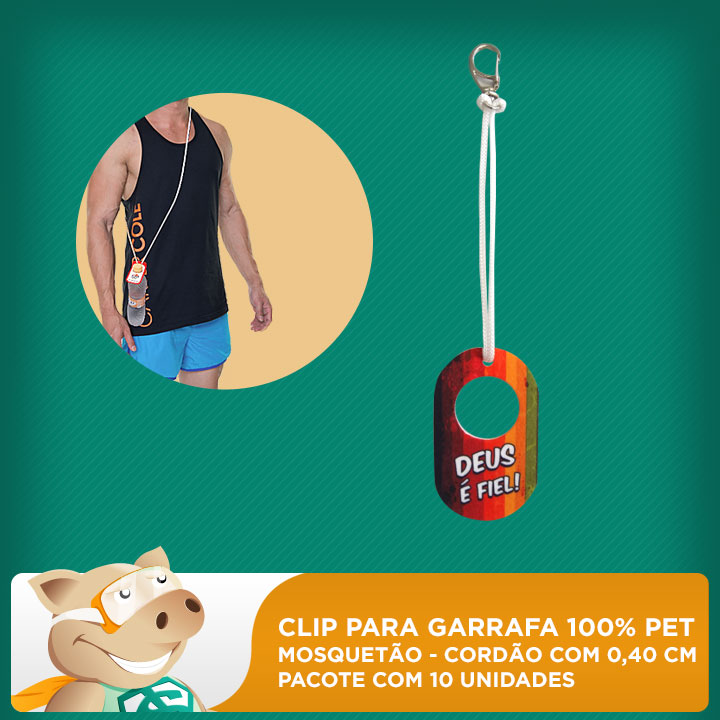 Clip para Garrafa 100% PET - Mosquetão com Cordão 0,40cm - Pacote com 10 unidades  - ECONOMIZOU