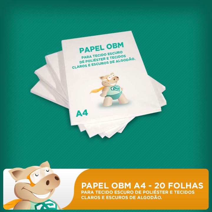 Papel OBM A4  - 20 Folhas - Para Tecido Escuro de Poli�ster e Tecidos Claros e Escuros de Algod�o