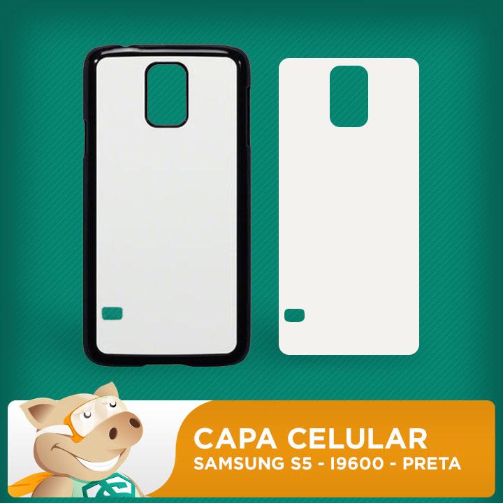 Capa Plástica 2D para Sublimação - Preta -  Samsung S5 - I9600    - ECONOMIZOU
