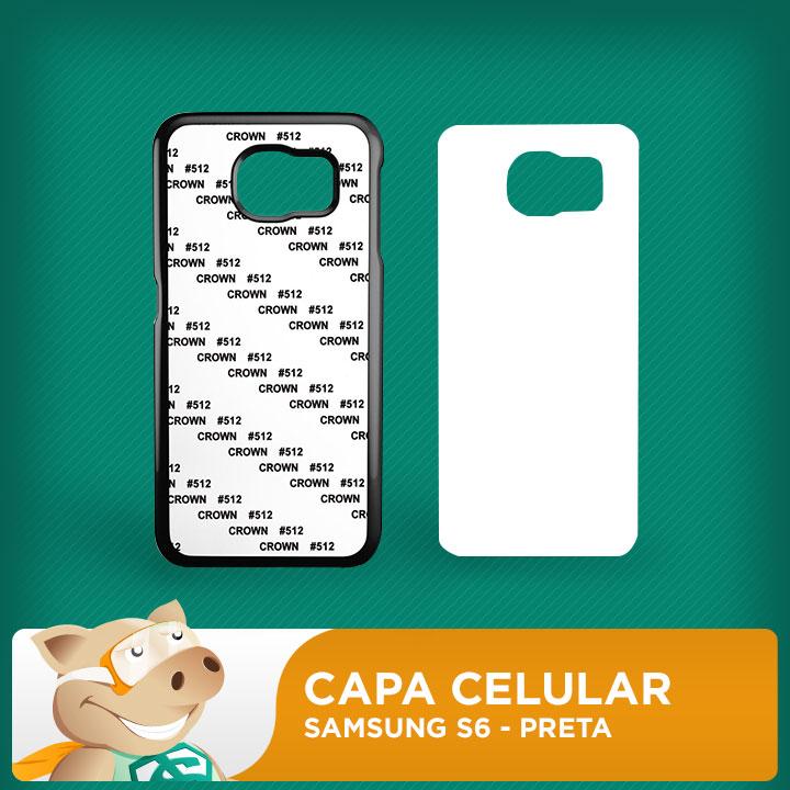 Capa Plástica 2D para Sublimação - Preta -Samsung S6  - ECONOMIZOU