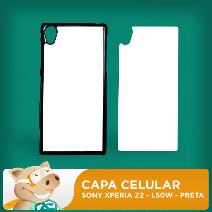 Capa Plástica 2D para Sublimação - Preta -Sony  Xperia Z2 - L50W    - ECONOMIZOU