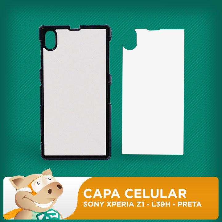 Capa Plástica 2D para Sublimação - Preta -Sony  Xperia Z1 -  L39H   - ECONOMIZOU