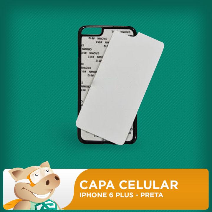Capa Plástica 2D para Sublimação - Preta - Iphone 6 Plus  - ECONOMIZOU