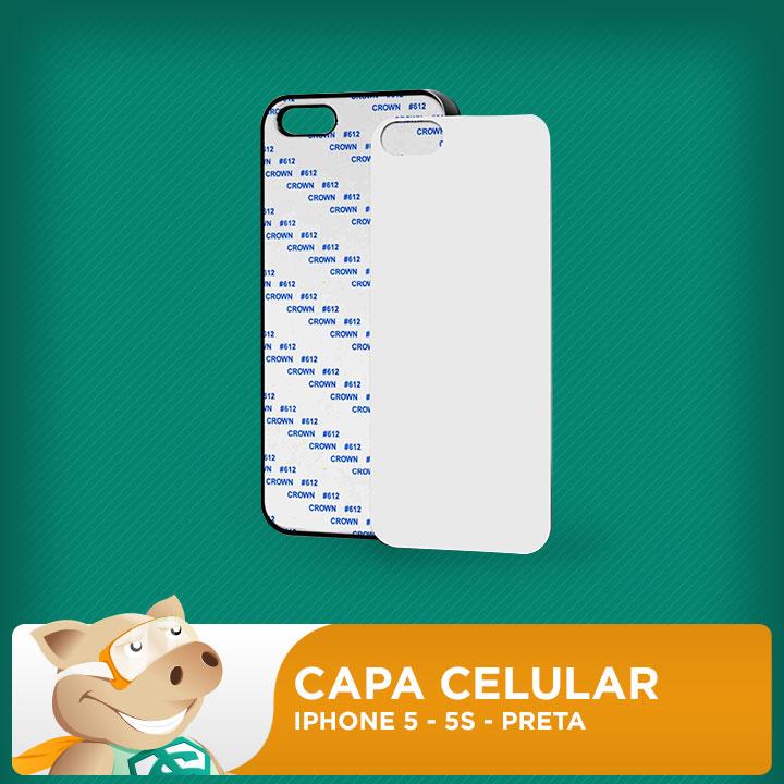 Capa Plástica 2D para Sublimação - Preta - Iphone 5 - 5S  - ECONOMIZOU
