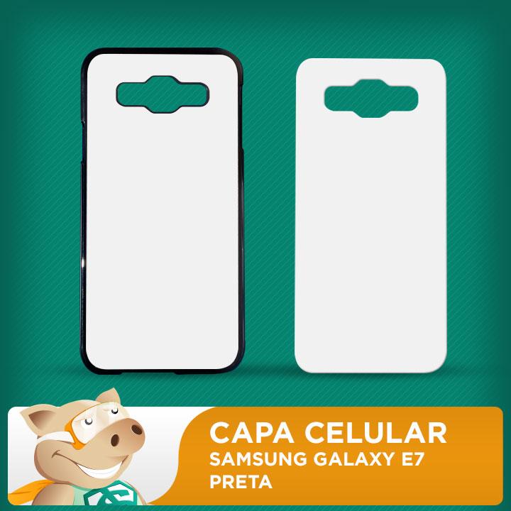 Capa Plástica 2D para Sublimação - Preta - Galaxy E7  - ECONOMIZOU
