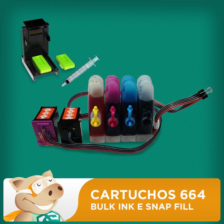 Cartuchos 664 Preto e 664 Colorido HP Adaptados para Bulk Ink com Snap Fill  - ECONOMIZOU