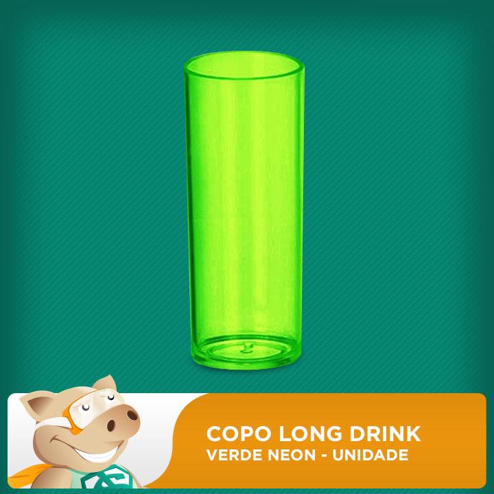 Copo Long Drink Verde Neon  Unidade  - ECONOMIZOU