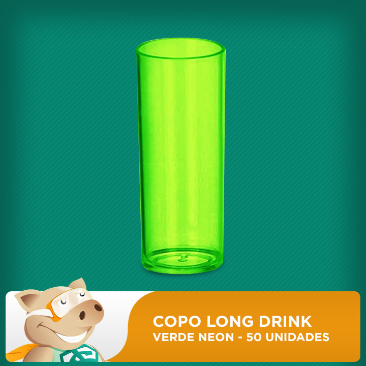 Copo Long Drink Verde Neon 50 Unidades  - ECONOMIZOU