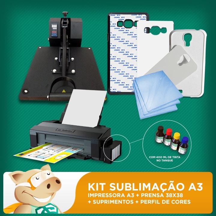 Kit Sublimação A3 + 38x38 (prensa 38x38 + impressora A3 + suprimentos + perfil de cores GRATIS!)  - ECONOMIZOU