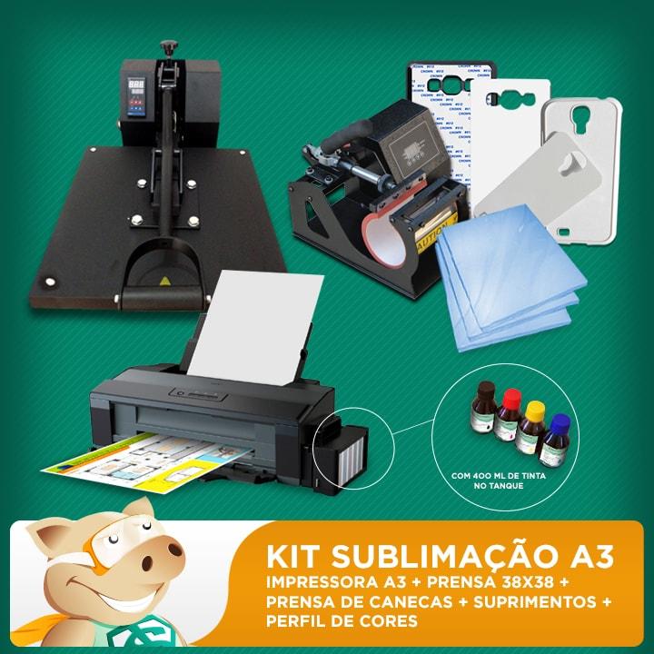 Kit Sublimação A3 + 38x38 + prensa de canecas (prensa 38x38 + prensa canecas + impressora A3 + suprimentos + perfil de cores GRATIS!)   - ECONOMIZOU