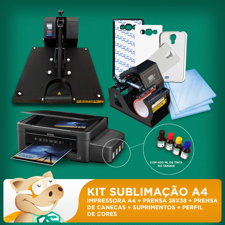 Kit sublimação A4  + 38x38 + prensa de canecas (prensa 38x38 + prensa de canecas + impressora A4+ perfil de cores GRATIS!)   - ECONOMIZOU