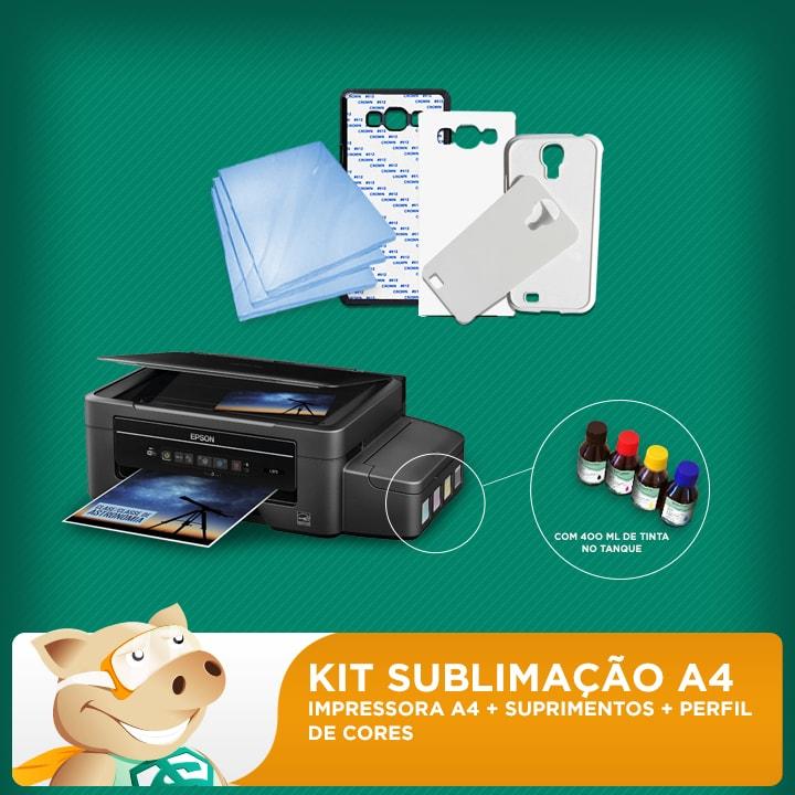 Kit sublimação A4 impressão - 2 (impressora A4 + suprimentos + perfil de cores GRATIS!)   - ECONOMIZOU