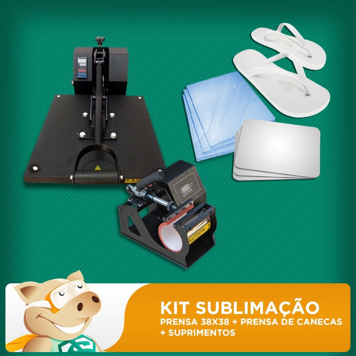 Kit Sublimação C/ Prensa 38x38 + Prensa De Canecas  - ECONOMIZOU