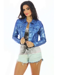Jaqueta Jeans Metalizada Planet Girls