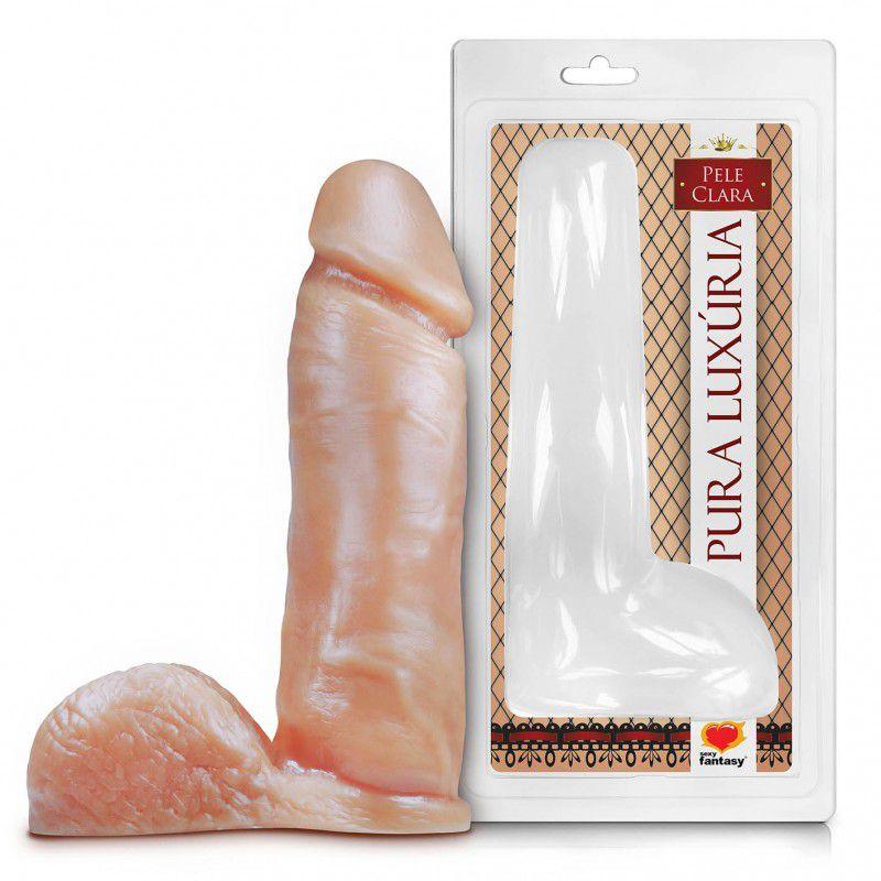 Pênis Realístico com Escroto – 20x4,5cm +Gel Lubrificante AQUA GEL 40g  - Mimus Sex Shop