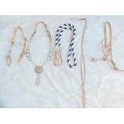 Traia tran�ada de couro cru com argolas de serrilha de alpaca e central - Selaria Zamboim