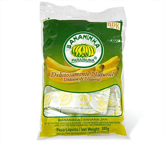 Bananinha com Açúcar <br>Pacote 300 g  - Bananinha Paraibuna