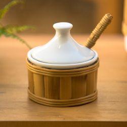 Açucareiro em Porcelana e Bambu Natural