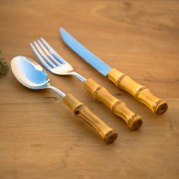 Conjunto de Talheres de Mesa em Bambu Natural (18 peças)