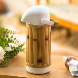 Garrafa Térmica Branca e Bambu Natural 1 litro