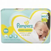 FRALDA PAMPERS RN+ PREMIUM CARE C/36 UNID.