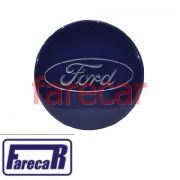 Calota 55mm tampa do miolo da roda com logo Ford Azul BE8Z1130A New Fiesta Ka Focus Fusion Ecosport Fiesta