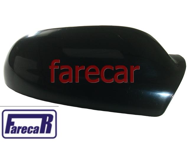 Capa Espelho Retrovisor Preto Liso Brilhante Vw Fox 03 a 09  - Farecar Comercio