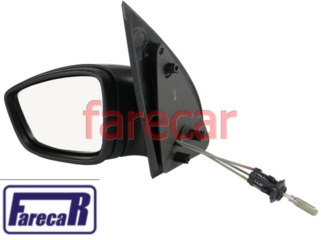 ESPELHO RETROVISOR COMPLETO COM CONTROLE MANUAL PRETO FOSCO GOL G5 GV 2008 A 2011 VOYAGE 2008 A 2011 08 09 10 11 2008 2009 2010 2011  - Farecar Comercio