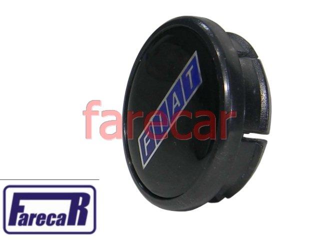 CALOTA 50 mm TAMPA MIOLO DA RODA LOGO PRETO FIAT TODOS  - Farecar Comercio