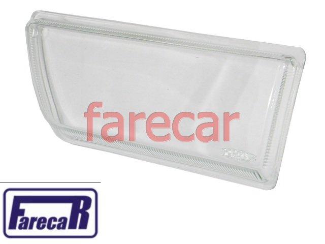 lente lisa de vidro do farol milha neblina do parachoque Vw Gol Saveiro Parati Voyage G1 quadrados de 1987 a 1994  - Farecar Comercio