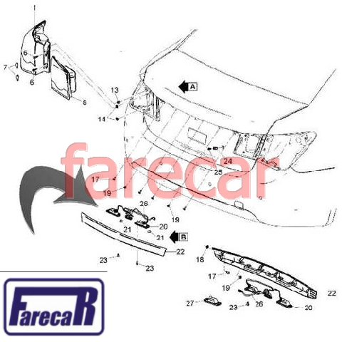 Cruze Sedan Kit Lanterna Placa Novo Original 95107229  - Farecar Comercio