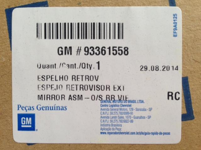 Espelho Retrovisor Eletrico Sem Capa Direito Original Gm 93361558 Zafira todas 2001 2002 2003 2004 2005 2006 2007 2008 2009 2010 2011 2012  - Farecar Comercio
