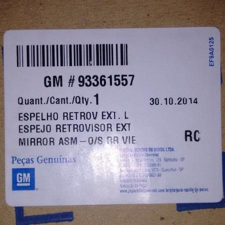 Espelho Retrovisor Eletrico Sem Capa Esquerdo Original Gm 93361557 Zafira todas 2001 2002 2003 2004 2005 2006 2007 2008 2009 2010 2011 2012  - Farecar Comercio