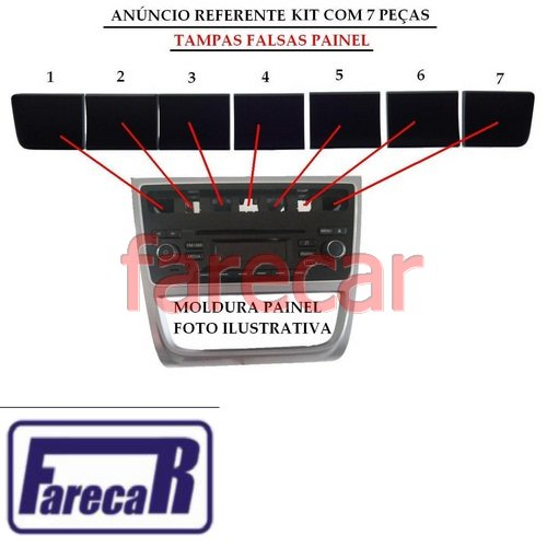 Kit com 7 Tampa Painel central Botao falso Gol G6 Voyage G6 Saveiro G6 2013 2014 2015 13 14 15  - Farecar Comercio