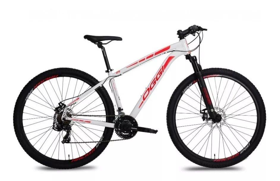 Bicicleta Oggi Hacker Sport aro 29 21v Branco/ Verm.