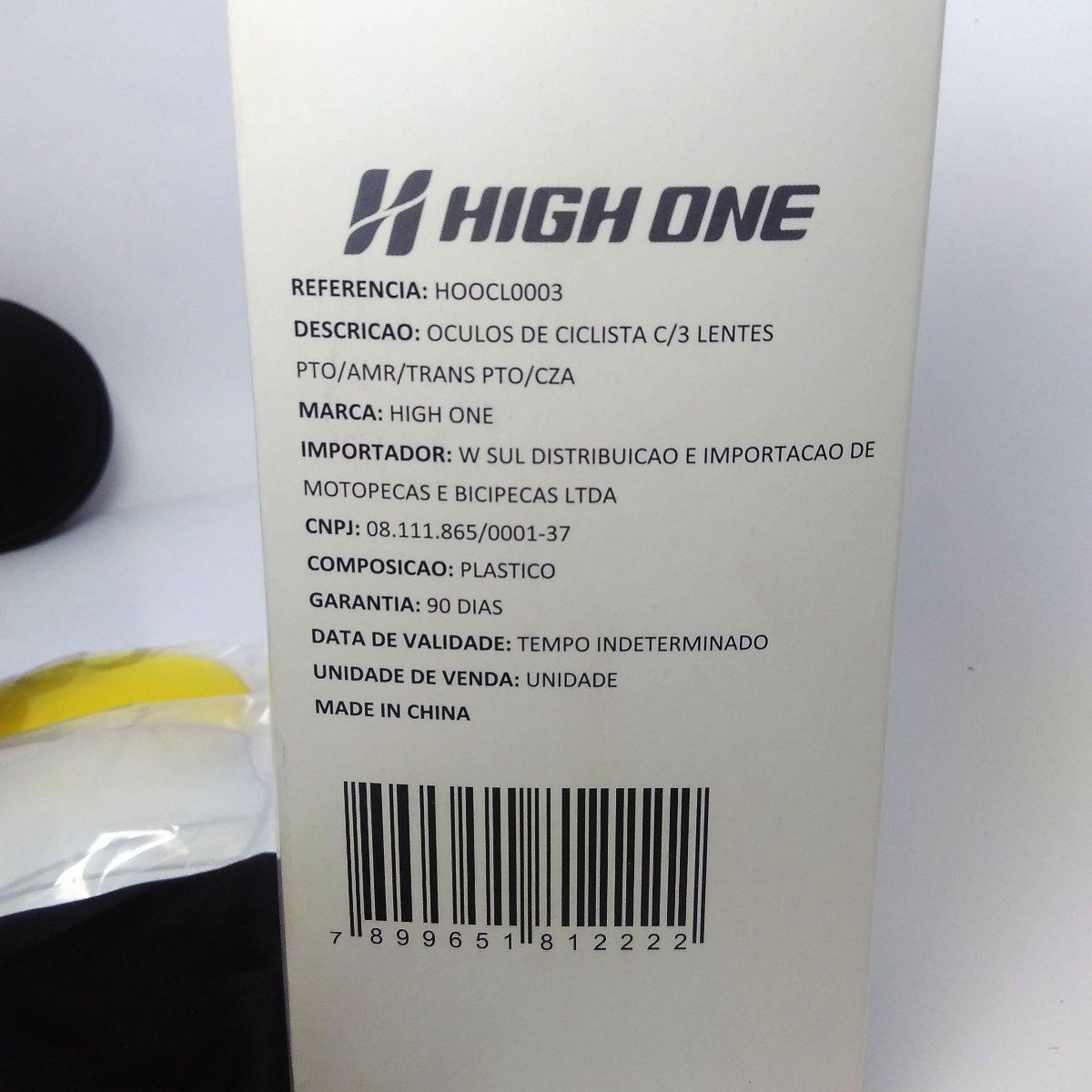 Óculos Ciclismo High One   3 Lentes + Case Preto