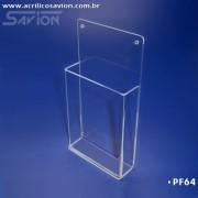 PF64-Porta Folheto de parede com bolso 11x22cm 1/3 A4