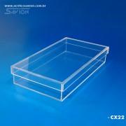CX22-Caixa de Acrilico Com Tampa 30x16x5 Cm