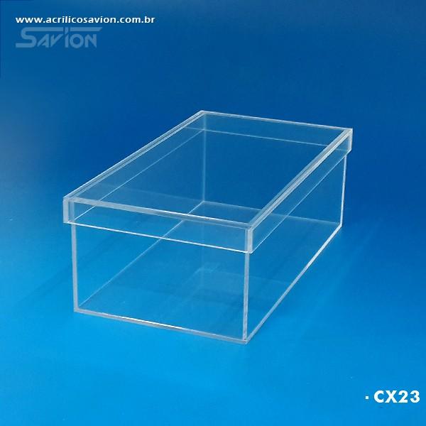 CX23-Caixa de Acrilico Com Tampa 30x16x10 Cm