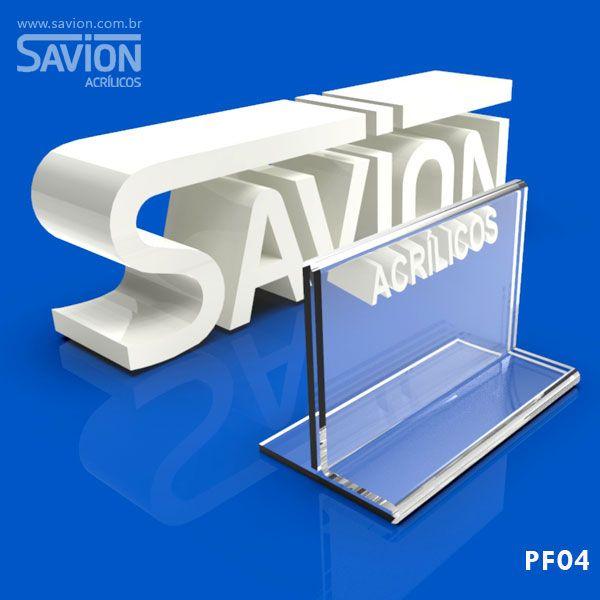 PF04-Porta Folheto de mesa 7,5X4 cm Dupla Face