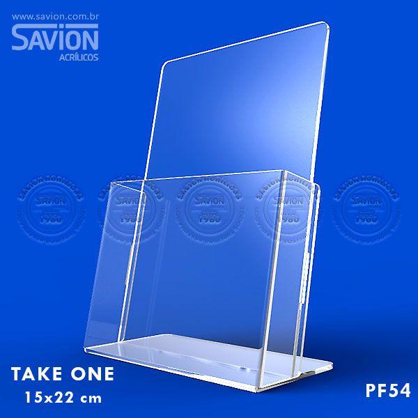 PF54-Porta Folheto de mesa com bolso 15x22 cm A5