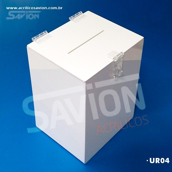 UR04 - Urna Cubo Branca C20xp17xa26 Cm 1000 Cupons
