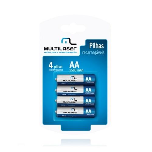 Pilha Recarregavel Multilaser AA com 4 CB052