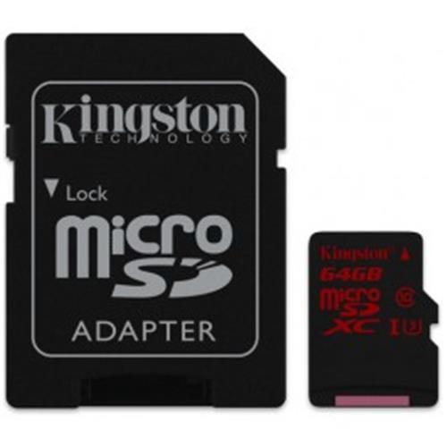 Cartao de Memoria Kingston Micro SDHC / SDXC 64GB UHS-I Classe 3 U3 + ADAPT SD - SDCA3/64GB