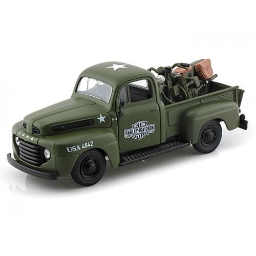 Carrinho Ford F-1 Pickup 1948 + Wla Flathead 1942 1:24 Verde 32185 Maisto